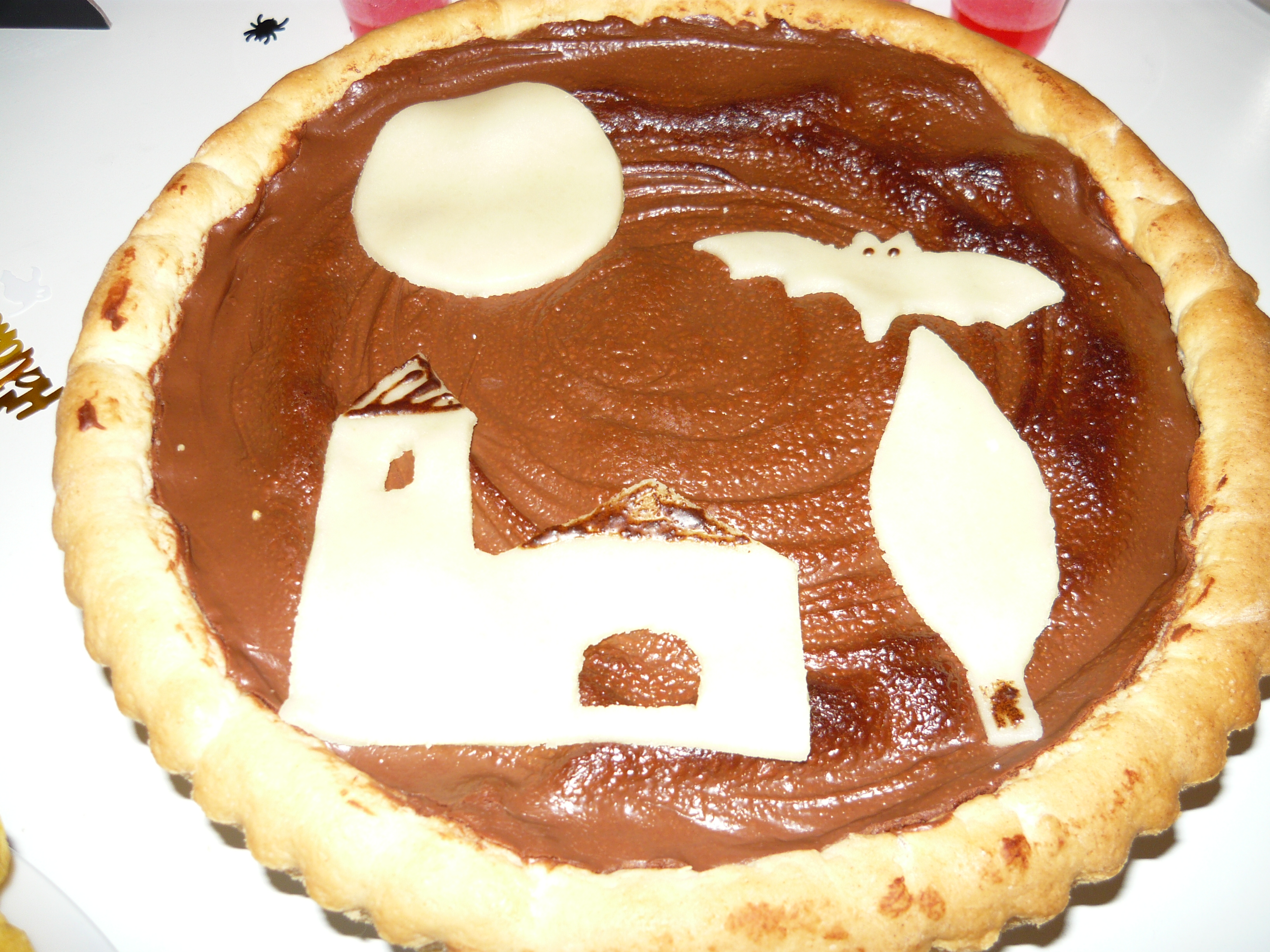 Nutella crostata with marzipan decorations